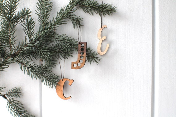 Laser Cut Ornament, Personalized Initial Ornament, Wooden Custom Initial Holiday Christmas Tree Ornaments, Holiday Home Decor