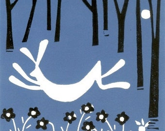 Hare Linocut Limited Edition Hand Pulled - Blue and Black - Magical Forest,Original Print by Giuliana Lazzerini.