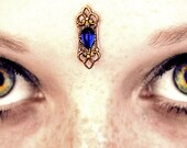 Sapphire Trinket Bindi, brass stamping, gold, antiqued, blue, tribal fusion, belly dance, wicca, goddess, fantasy, regal, pagan, gypsy