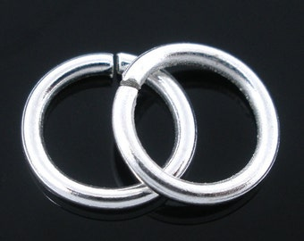 12mm Jump Rings : 100 Silver Plated Open Jump Rings 12mm x 1.2mm (17 Gauge) -- Lead, Nickel, & Cadmium free Jewelry Findings 12x1.2.S100