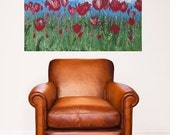 SALE Spring Red Tulip Flower Field, 24x36 Golden Textured Large Room Art by MyImaginationIsYours