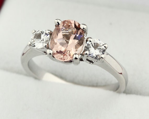 Natural  Morganite  Solid 14K White Gold white sapphire engagement Ring Gem759