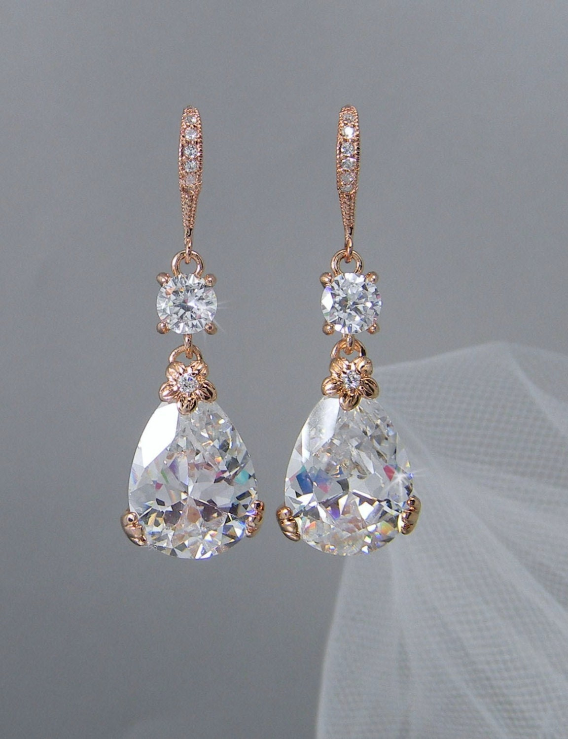 Rose Gold Bridal Earrings Drop Wedding Earrings Swarovski