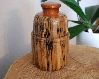 Hand Turned Spalted Maple with Maple Inlaid Handle Stash Jar
