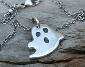 Silver Ghost Necklace.  PMC Ghost.  Silver Halloween Necklace Jewelry.  Sterling Silver Chain.