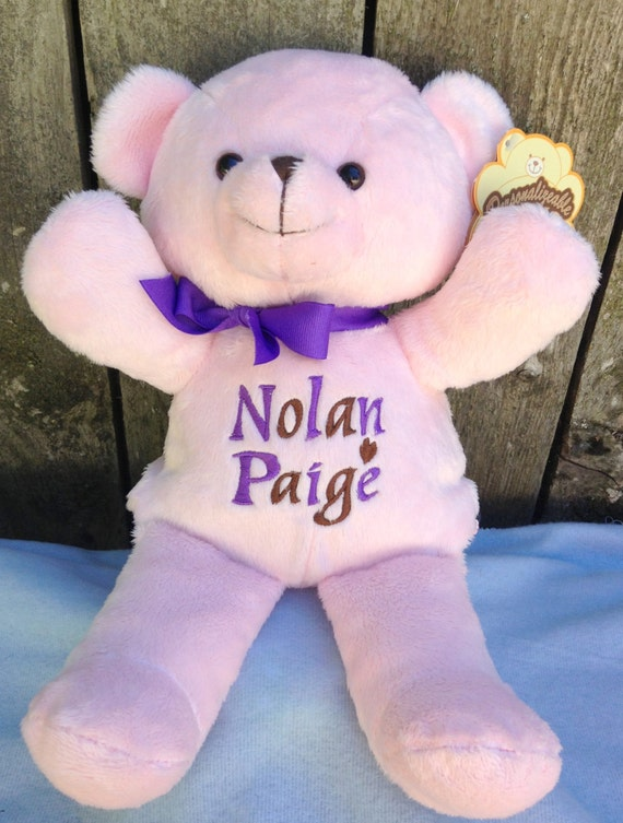 personalized baby gift pink teddy bear by worldclassembroidery