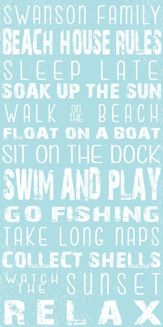 Items similar to BEACH HOUSE RULES Sign - Personalized ...