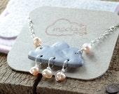 Gray Cloud Bracelet, Pardo Clay, Pink freshwater Pearl, Rain Cloud