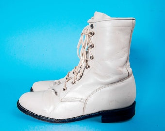 White JUSTIN Lacer Boots Women's Size 8