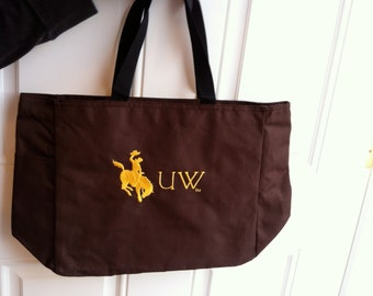 Brown or Natural Canvas Officially Licensed University of Wyoming Tote Bag with Free Monogram
