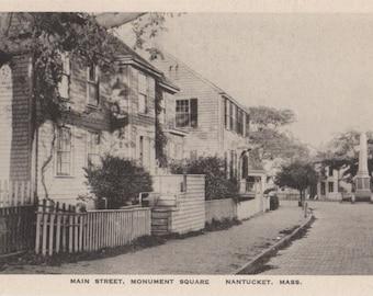Main Street, Monument Square, Nantucket post card. Gardiner black & white.