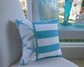 Starfish Pillow - Coastal Blue Starfish Design Pillow - Reversible 15 x 15 Inch - Coastal Blue and White Pillow - Starfish and Stripes