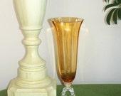 Vintage Tall Amber Glass Vase Tulip Shape Fancy Pedestal Base.
