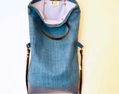 Liverleaf blue waxed linen and leather handbag tote