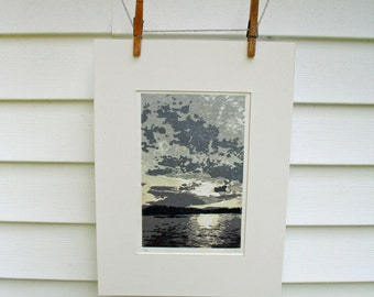 View of the Adirondacks from Button Bay, VT -Hand Pulled, Limited Edition
