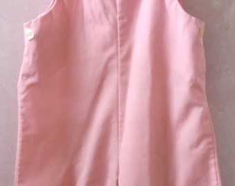 Vintage Pink Cotton Overalls, 9-12 Months