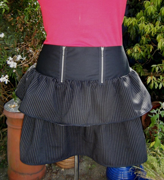 UK Punk skirt pinstripe skirt  zipper skirt  Punk Steampunk Goth Last one