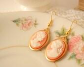 Lady Cameo Earrings -  Dangle Earrings -