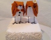 Pumpkin Orange Love Birds Wedding Cake Topper - READY TO SHIP!