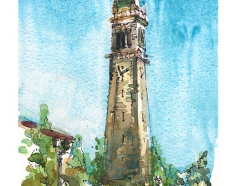 Graduation gift, UC Berkeley Campanile, Sather Tower Clock tower fine art print of a watercolor sketch