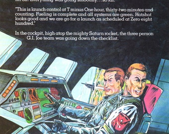 "PAGE FROM a BOOK Vintage Art Children's Book Illustration ""G.I.Joe: Operation Outer Space"" 1983 Page from Book"