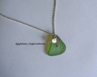 Green Sea glass necklace with angel wing and pearl. Sea glass jewelry.