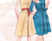 Vintage 1960s Vogue Sewing Pattern 5307 Womens One Piece Button Front Dress & Scarf Size 14 Bust 34