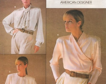 80s Calvin Klein Womens Blouses Vogue Sewing Pattern 1792 Size 12 Bust 34 Suit Blouse Pattern Vintage Vogue American Designer