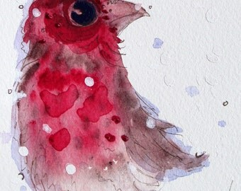 Red Finch in the Snow, Original Watercolor Print, Christmas Decor, Bird Art Print, Large Christmas Art