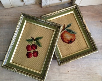 Embroidered Fruit Wall Hangings Cherries Peaches
