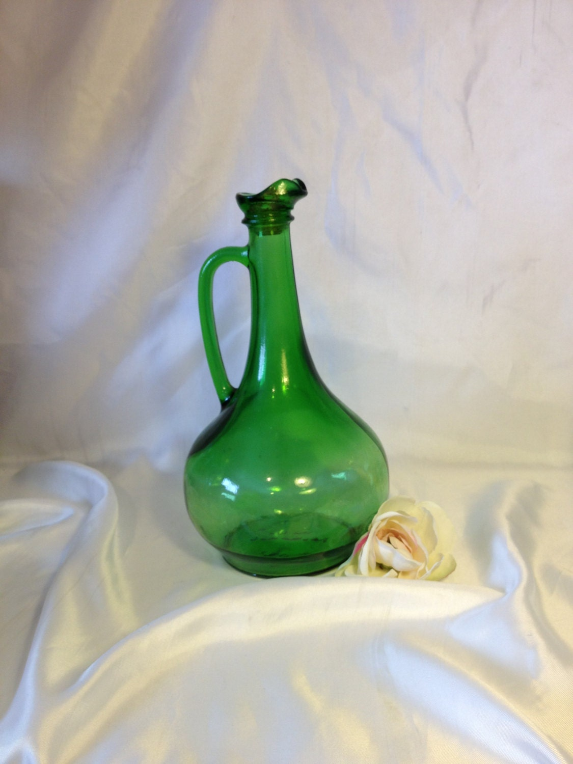 vintage green glass decanter wine bottle