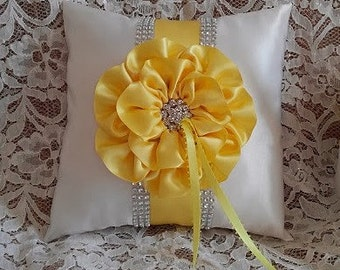 Yellow Ring Bearer Pillow / Canary & White Ring Bearer Pillow / Yellow Flower and Trim / Rhinestone Mesh Trim / Wedding Pillow