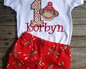 Sock Monkey Birthday Short Set 1st 2nd 3rd 4th 5th Birthday Tee Tshirt T Shirt Bodysuit