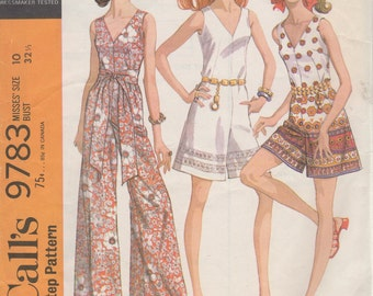 Bust 32 1/2-1969 Misses' Pantdress McCall;s 9783 Size 10