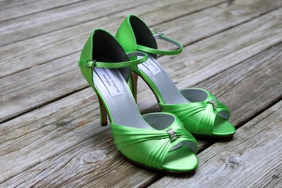 "Lime Green Wedding Shoes 3"" heels"