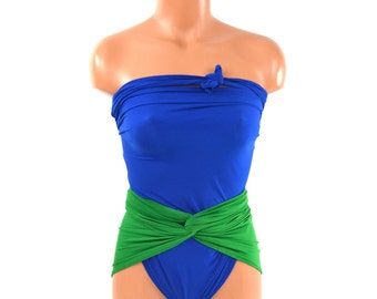 One Wrap Swimsuit Medium Bathing Suit Kelly Green w/ Royal Blue Wrap Around Swimwear Resort Wear traje de baño Maillot de Bain hisOpal