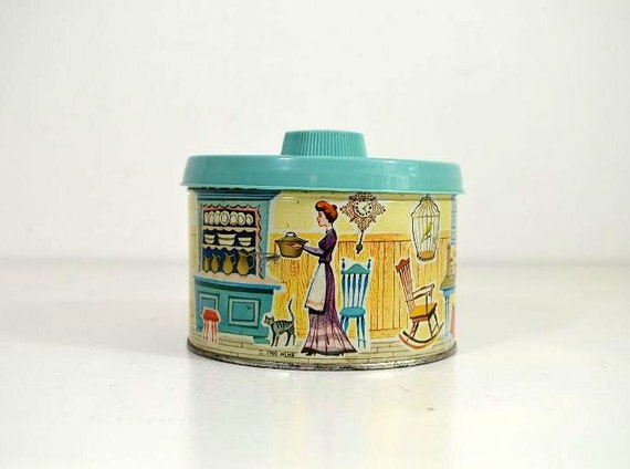 Vintage Mrs. Lelands Old Fashioned Candies Tin Canister