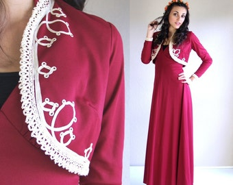 vtg 70s Raspberry SOUTACHE military MAXI DRESS crochet xs/s boho hippie empire