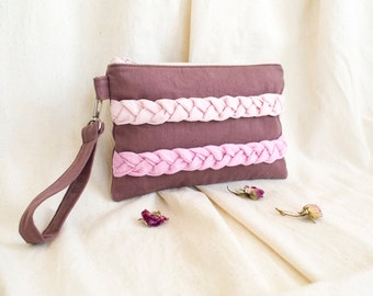 Plum Zipper Pouch with Pink Plaits, Ombre Clutch, Purple Accessories, Romantic Cotton Cosmetic Bag