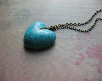 Heart Necklace - Natural Blue Turquoise Heart Pendant Antique Bronze Chain Necklace - Statement Jewelry - One Of A Kind