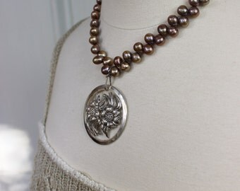 Simply Stated No. 1 - Antique Sterling Silver and Freshwater Pearls- Cocoa Bronze, upcycled recycled repurposed vintage, One-of-a-Kind