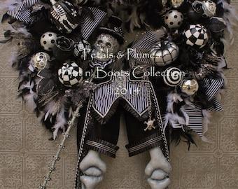 "PRE-ORDER ""2017"" Halloween Delivery-Halloween Wreath-""Monsieur DaBones-Steam-Punk Skeleton-4 feet Tall-Petals & Plumes ORIGINAL Design"