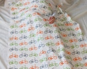 Bike Toddler Blanket in Orange, Green and Gray Bicycle Print Organic Cotton Toddler Bedding  Bicycle Eco Friendly Children