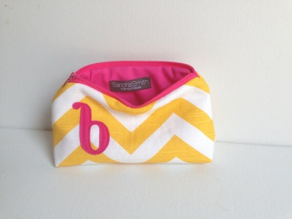 Monogram Bridal Gift: Yellow & Hot Pink Cosmetic Bag, Gold Chevron Magenta Letter, Personalized Wedding PartyFavor, Bridesmaids Clutch