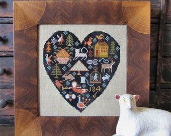 Black Heart cross stitch pattern by Kathy Barrick at cottageneedle.com Valentine's Day February folk art prim primitive hand embroidery