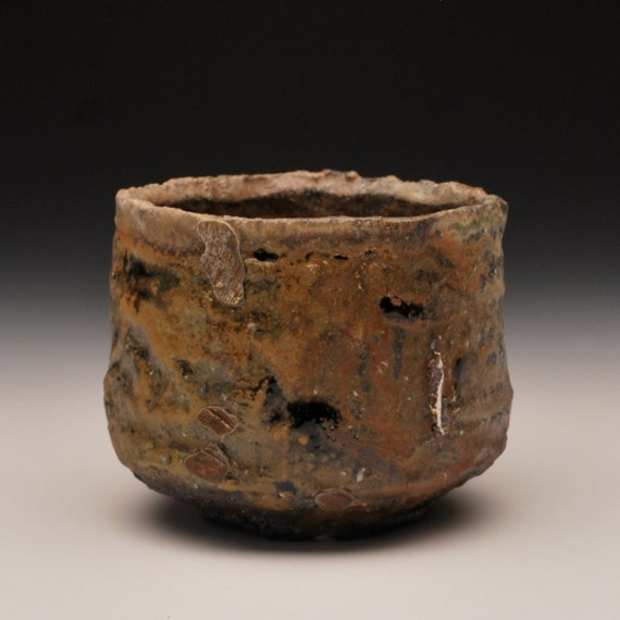 Ember Buried Tea Bowl - Anagama Fired, Soda Fired, Rustic, Wabi Sabi