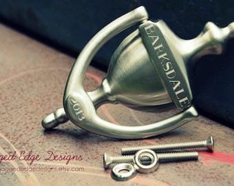 "Custom Engraved ""Cambridge"" Style Solid Brass - SATIN NICKEL Door Knocker"
