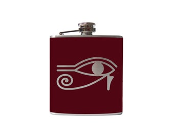 Eye of Ra FLASK- alcohol, whiskey, wedding-Personalized Custom - YOU pick COLOR
