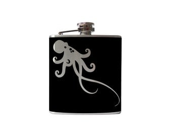 Octopus Flask- hawaii alcohol, liquor, booze, wedding, bridal party, hip pocket- Personalized Custom - YOU pick COLOR