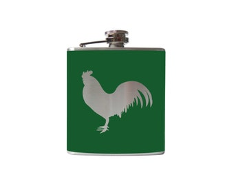 Rooster Hip FLASK- alcohol, liquor, booze, cocktails, wedding, bridal party, hip pocket- Personalized Custom - YOU pick COLOR
